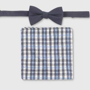 Men's Bowtie and Check Pocket Square